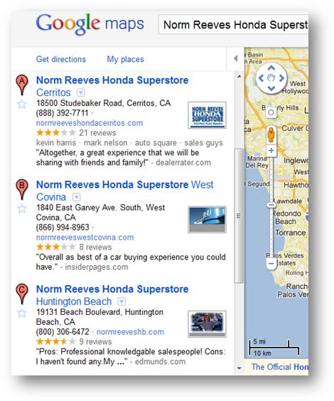 Google Places Other Review Sites