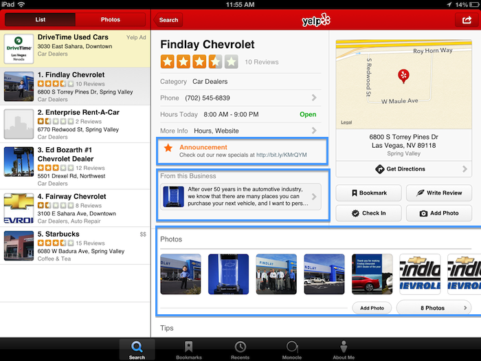 yelp ipad after
