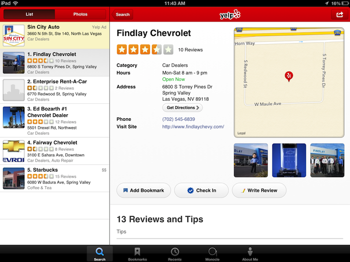 yelp ipad before